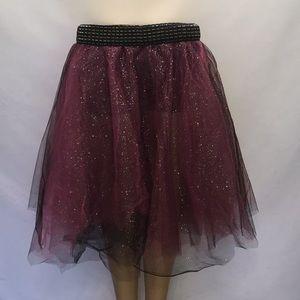 Festival/Rave Ready Black-Pink Glitter Tulle Skort